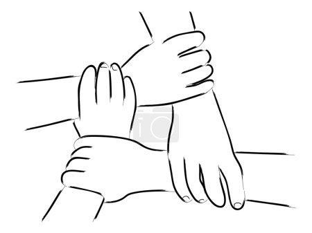 Illustration pour Art linéaire de quatre mains humaines se tenant l'une l'autre - image libre de droit