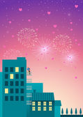 Beautiful simple graphic of a couple watching fireworks at hotel or apartment balcony with hearts shape on the air
