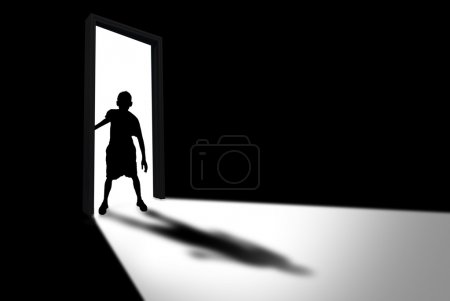 Kid Enters Dark Room Concept of Unknown and Fear