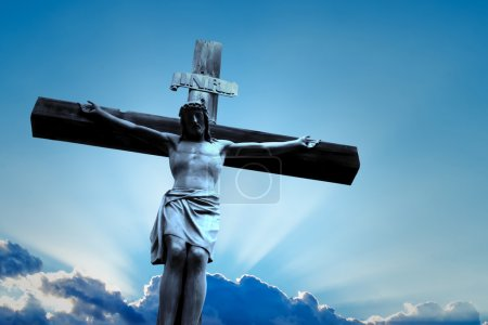 Photo for Jesus Christ Son of God over dramatic sky scenery - Royalty Free Image