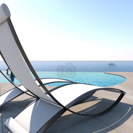 Sun loungers inviting to relaxation and rest.