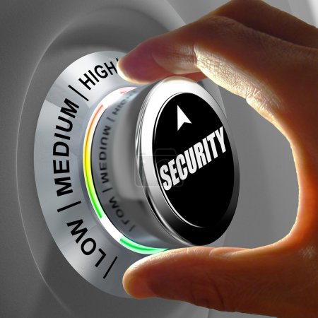 Hand rotating a button and selecting the level of security.