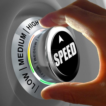 Hand rotating a button and selecting the level of speed.