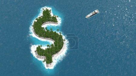 Photo pour Paradis fiscal, évasion financière ou patrimoniale sur une île en forme de dollar. Un bateau de luxe navigue vers l'île . - image libre de droit