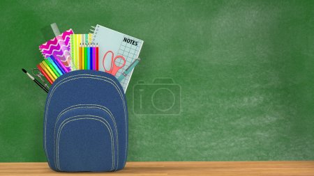 Back to school. A blue Satchel full of school supplies