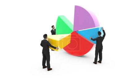 Business men assembling a pie chart