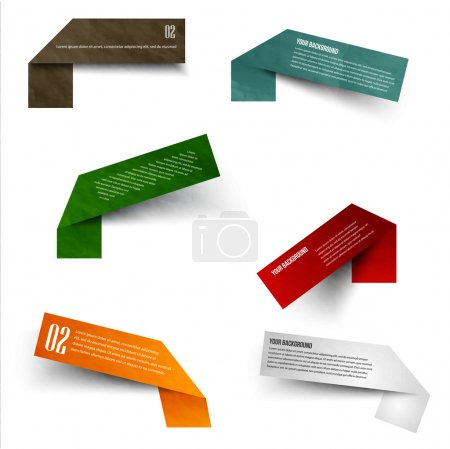 Illustration for Set of blank rectangle labels with acute corners - Royalty Free Image