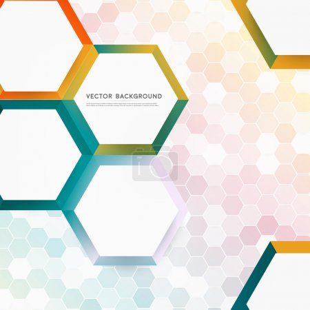 Illustration for Vector abstract color 3d hexagonal. Background with hexagon element - Royalty Free Image