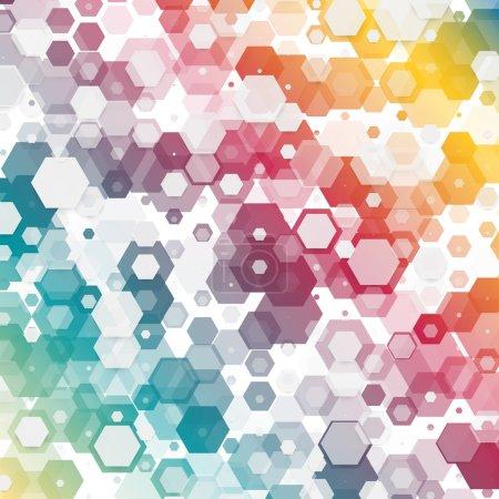 Illustration pour Vecteur abstrait couleur 3d hexagonale. Fond avec élément hexagonal - image libre de droit
