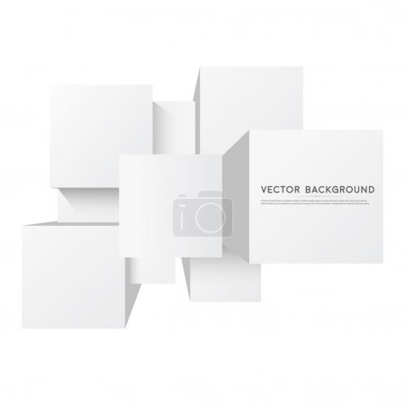 Illustration for Vector abstract white 3d squares. Background with squares element - Royalty Free Image