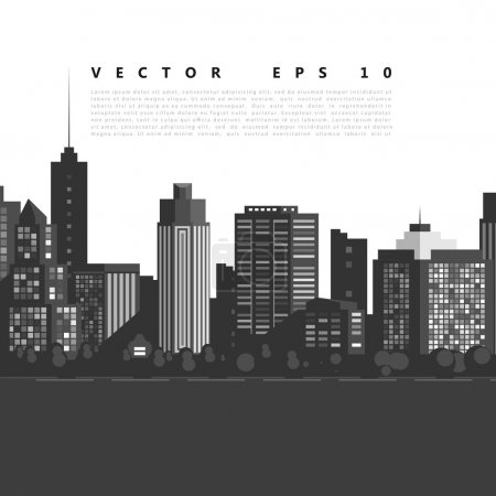 Illustration for Vector modern city. Cityscape background for your design, urban art. Buildings - Royalty Free Image
