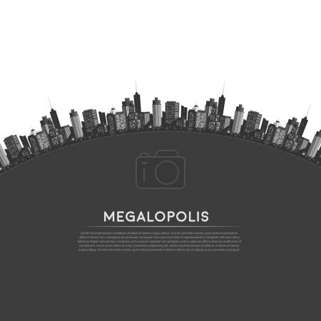 Photo for Vector circle modern city. Cityscape background for your design, urban art. Buildings - Royalty Free Image