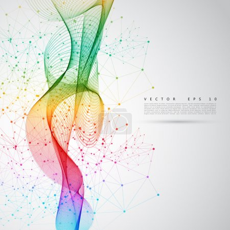 Illustration for Abstract colorful background. Vector color smoke line. - Royalty Free Image