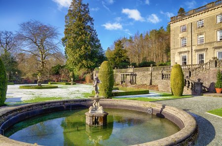 Rydal Hall and ornamental fountain on a frosty morning.