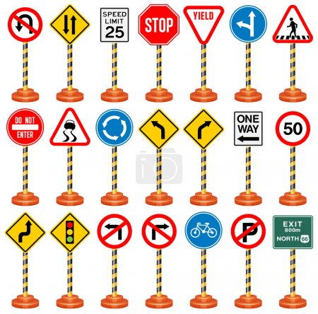 Illustration for Vector Illustration of Road Signs. Best for Transportation, Safety, Travel, Signs and Symbols concept. - Royalty Free Image