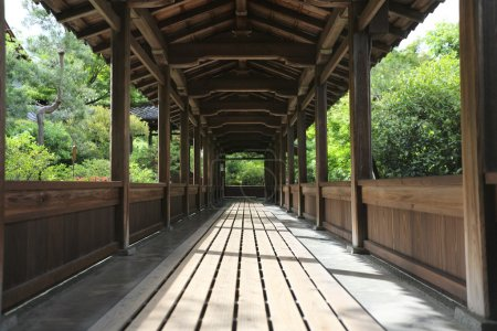 Japan temple wood walk way with Japanese garden , Kyoto Temple J