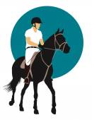 Horse and rider on blue background Vector EPS10