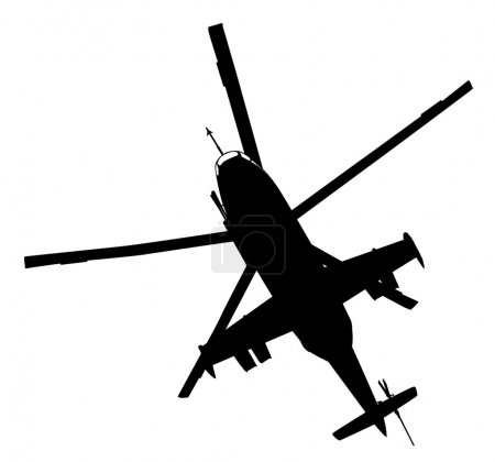 Illustration for Military helicopter flying  vector silhouette - Royalty Free Image