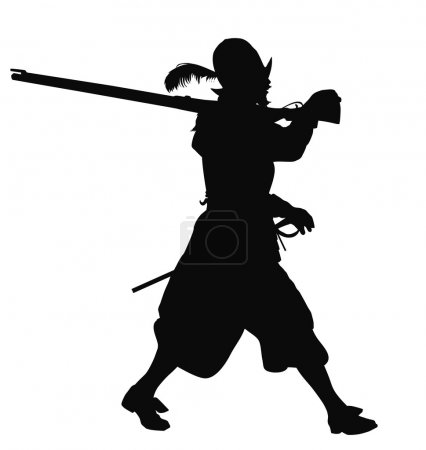 Conquistador with musket marching. Detailed vector...