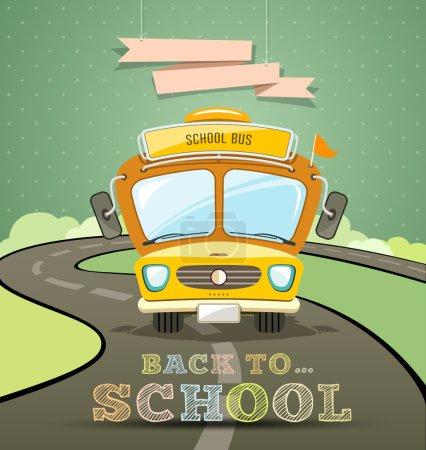 Illustration pour Conception de concept d'autobus scolaire avec message de retour à l'école, illustration vectorielle - image libre de droit