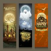Happy Halloween day collections banner vertical design background vector illustrations