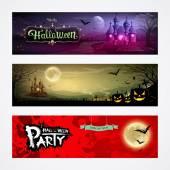šťastný halloween sbírky banner design