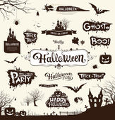 Happy Halloween day silhouette collections design vector illustration