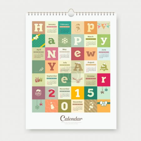 Calendar Happy new year text and colorful square design