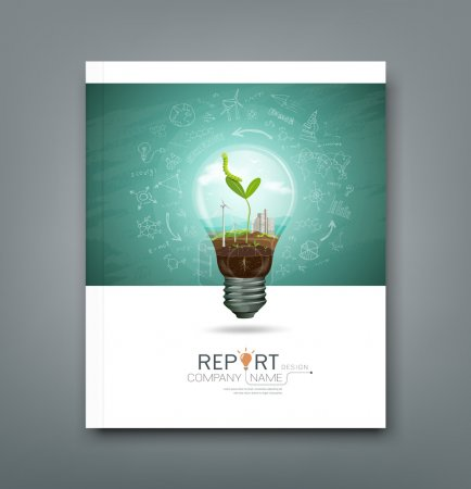 Illustration for Cover annual report green seedlings in a light bulb ecology concept design, sketching science background, vector illustration - Royalty Free Image