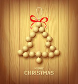 Wood merry christmas tree red ribbons design