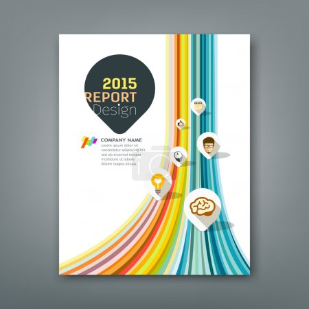 Cover report colorful lines shapes info-graphic