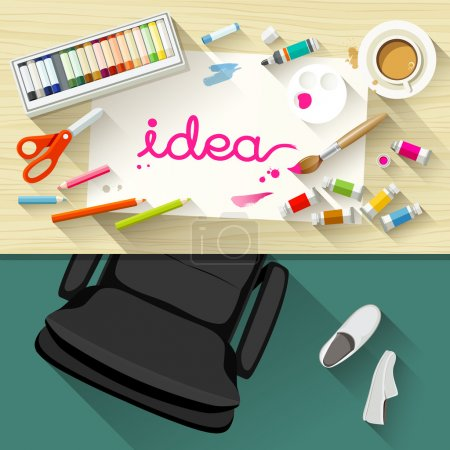 Illustration for Designer desk artist, collections of flat design of paintbrush, white paper, watercolor concept, Equipment used for design, Top view of desk background, vector illustration - Royalty Free Image