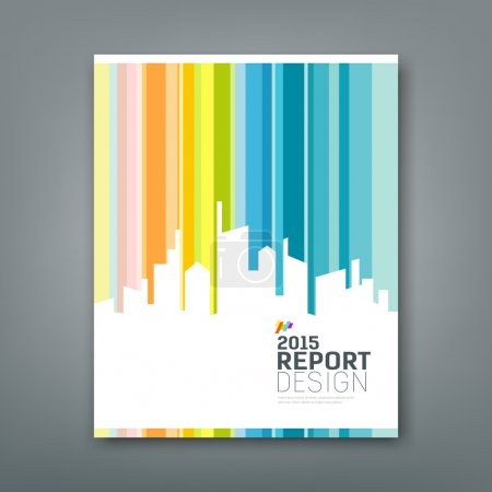 Cover Annual report silhouette building colorful background