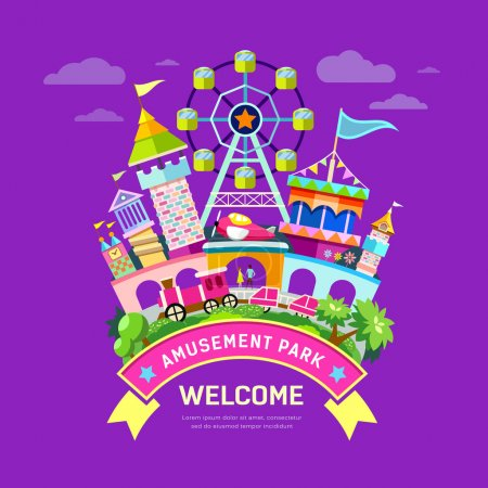 Vector Amusement park flat concept design