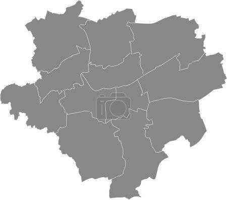 Illustration pour Carte vectorielle grise simple avec les frontières blanches des districts de Dortmund, Allemagne - image libre de droit