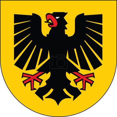 Illustration pour Illustration vectorielle des armoiries de la capitale régionale allemande Dortmund, Allemagne - image libre de droit