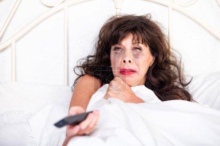 Woman Watching Sad Movie