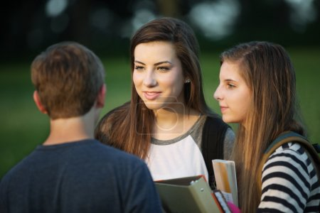 Three Students Talking Outdoors
