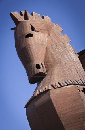 Head of Reconstructed Trojan Horse at Troy in Turk...