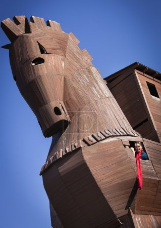 Woman Inside of Reconstructed Trojan Horse at Troy...