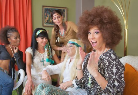 Surprised Lady in Afro with Friends