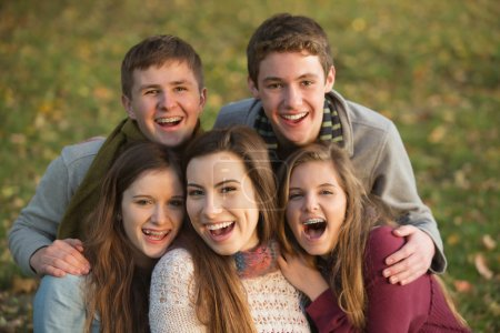 Photo for Five laughing white teenage males and females together - Royalty Free Image
