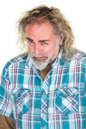 Photo pour Homme barbu caucasien déçu dans la chemise de flanelle - image libre de droit