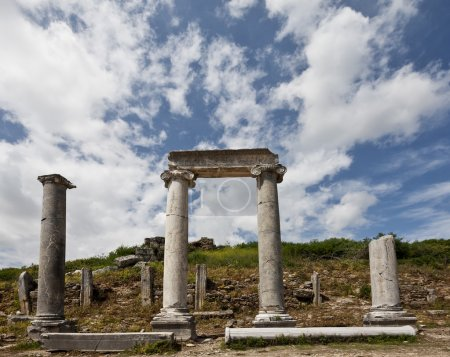Ancient Columns Lining Main Road at Perga in Turkey