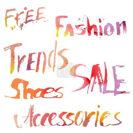 Illustration pour Lettrage dessiné à la main. Illustration vectorielle. Gratuit, mode, tendances, vente, chaussures, accessoires . - image libre de droit