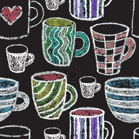 Illustration for Chalk on board. Collection of mugs. Seamless pattern. - Royalty Free Image