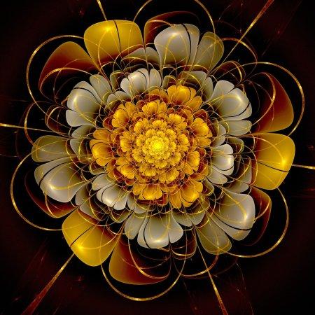 Photo for Colorful fractal flower pattern, digital artwork for creative - Royalty Free Image