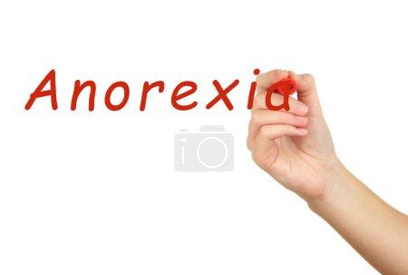 Human hand writing word Anorexia
