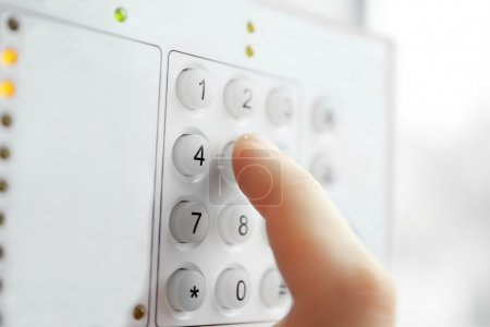Security alarm keypad with  hand