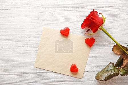 Beautiful rose with gift card